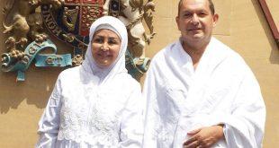 British Ambassador Simon Collis and his wife Huda Mujarkech before embarking on the pilgrimage. Photo via @fawziah1